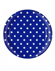 8 piatti in cartone blu a pois 23 cm