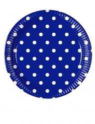 8 piattini in cartone blu a pois 20 cm