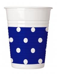 8 bicchieri in plastica blu a pois