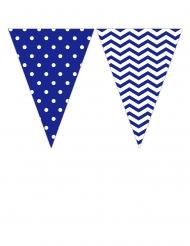 Ghirlanda di bandierine con zig zag e pois blu e bianchi
