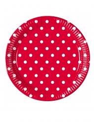 8 piatti in cartone rossi a pois 23 cm