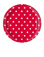 8 piattini in cartone rossi a pois 20 cm