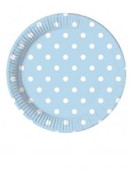 8 piattini in cartone celesti a pois 20 cm