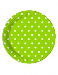 8 piatti in cartone verde mela a pois 23 cm