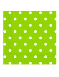 20 tovaglioli di carta verde mela a pois