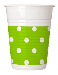 8 bicchieri in plastica verde mela a pois