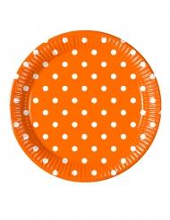 8 piatti in cartone arancioni a pois 23 cm