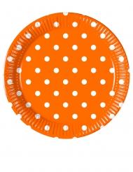 8 piattini in cartone arancioni a pois 20 cm
