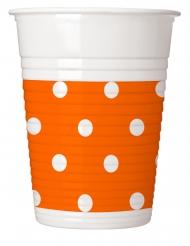 8 bicchieri in plastica arancioni a pois