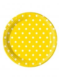 8 piatti in cartone gialli a pois 23 cm