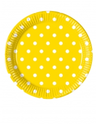 8 piattini in cartone gialli a pois 20 cm