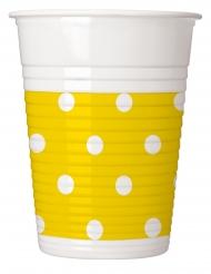 8 bicchieri in plastica gialli a pois