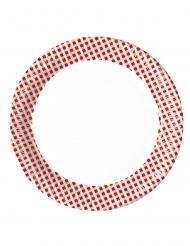 10 piatti a quadretti rossi e bianchi 23 cm