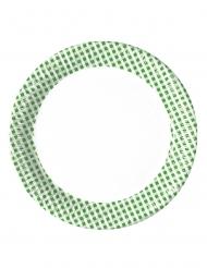 10 piatti a quadretti verdi e bianchi 23 cm