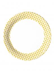10 mini piatti a quadretti gialli e bianchi 16 cm