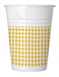 10 bicchieri in plastica a quadretti gialli e bianchi