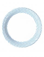 10 piatti a quadretti blu e bianchi 23 cm