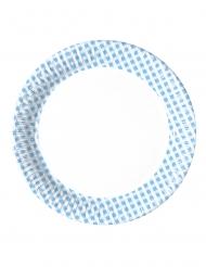10 mini piatti a quadretti blu e bianchi 16 cm