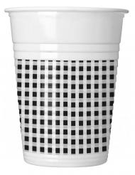 10 bicchieri in plastica a quadretti neri e bianchi
