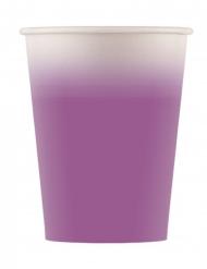 8 bicchieri in cartone sfumati lilla