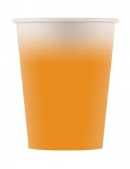 8 bicchieri in cartone sfumati arancione