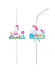 6 cannucce in plastica unicorno con i Minions™