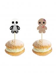 10 stuzzicadenti in legno scheletro e bambolina voodoo halloween