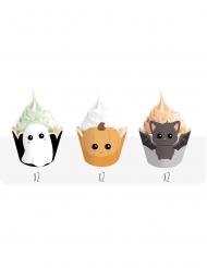 6 decorazioni per cupcakes piccoli mostri Halloween