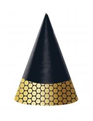 8 cappellini per festa neri con finte paillettes oro