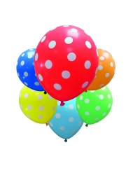6 palloncini in lattice multicolor con pois