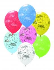 6 palloncini in lattice Happy Birthday multicolor