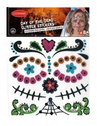 Adesivi con strass per il viso Dia de los muertos