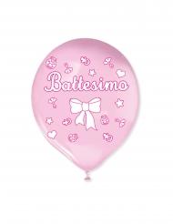20 palloncini in lattice il mio battesimo rosa