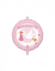 Palloncino in alluminio Benvenuta cicogna rosa