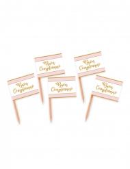 25 stecchini decorativi Buon compleanno rosa e oro
