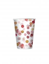 8 Bicchieri di carta palline rosse e dorate 200ml