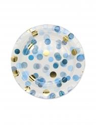 8 piatti in cartone coriandoli celesti 24 cm