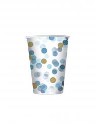 8 bicchieri in cartone coriandoli celesti