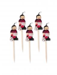 5 candeline calciatori con maglia rossa e nera