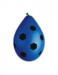 10 palloncini in lattice calcio blu e neri