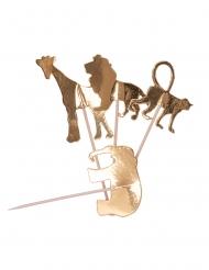 20 stecchini decorativi animali della giungla oro