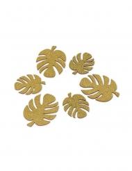 6 foglie tropicali in legno con brillantini oro