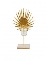 Portacandele con foglia di palma oro