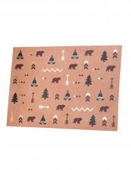 8 Tovagliette foresta indiana in kraft 39 x 27,5 cm