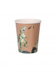 8 bicchieri in cartone dinosauri verde e oro