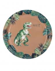 8 piatti in cartone dinosauri verdi e oro 23 cm