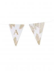 5 gagliardetti bianchi con foglie oro lettera
