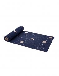 Runner da tavola in lino blu pianeti