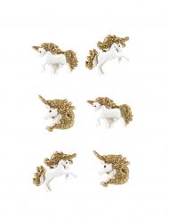 6 unicorni in resina adesivi e brillantini oro