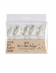 5 candeline unicorno bianco con brillantini